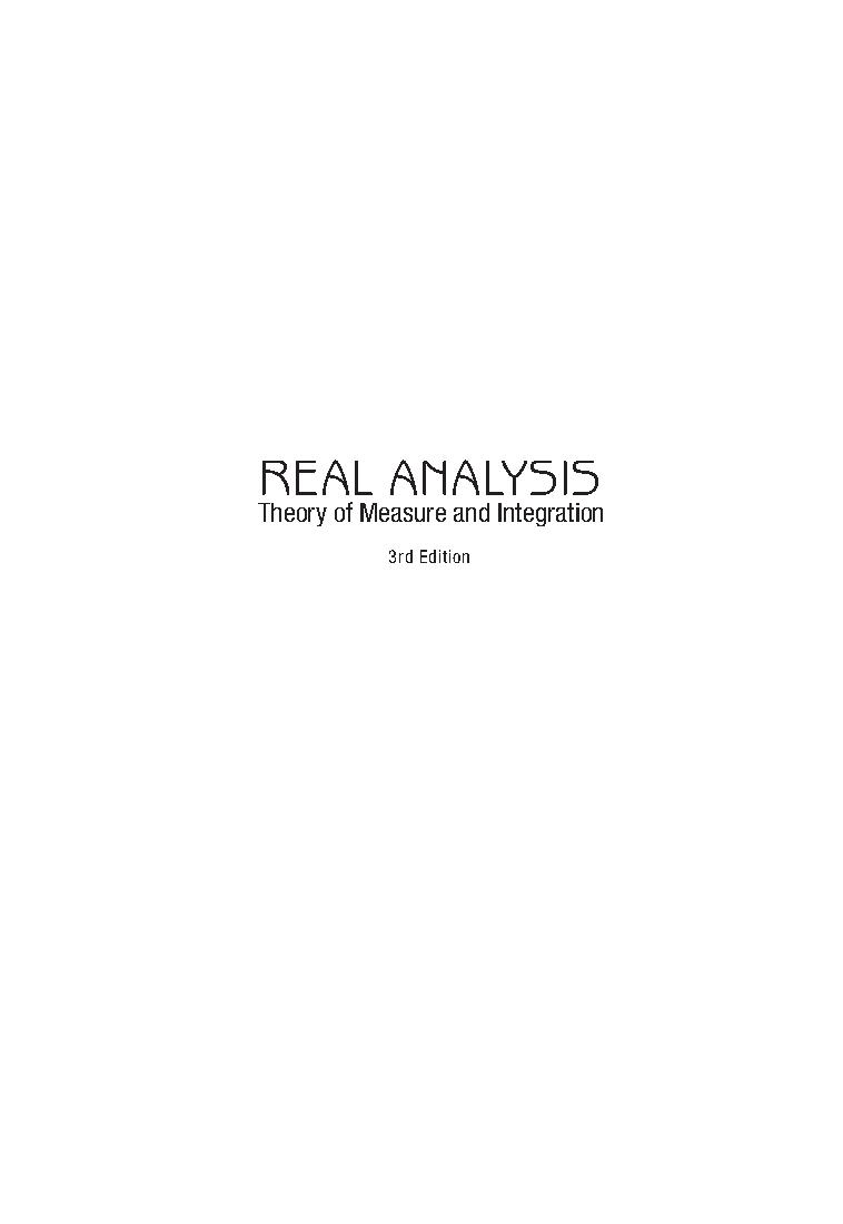 Real analysis. Theory of measure and integration